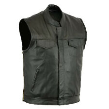 Mens Motorcycle Biker Full Real Leather Waistcoat Black Vest Jacket Pockets-XL