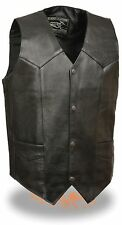 Men's Very Thin & Lightweight Black Leather Vest w/ Snap Front Closure