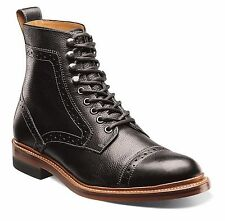 Stacy Adams Mens Black Leather  Madison Lace up Ankle Cap Toe Trendy Medium Boot