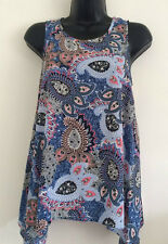 NEW DP Size 8-20 Paisley Print Navy Blue Summer Casual Tunic Vest Top Blouse