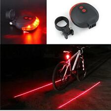 2 Laser+5 LED Flashing Lamp Rear Cycling Bicycle Bike Safety Warning Tail Light