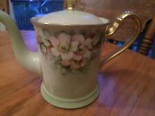 Antique D & C France Pink Flower and green  Beautiful Teapot
