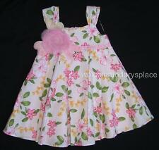 """PLUM PUDDING """"I Love You"""" Toddler Girls Floral Pleated Dress PINK 18 months NEW"""