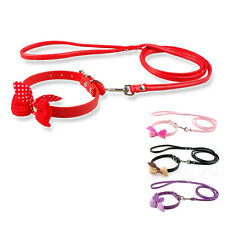 Cute PU Leather Dog Puppy Kitten Cat Collar & Leash Leads Set  Knit Bowknot XS S