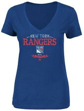 New York Rangers NHL Majestic Womens Deep V Shirt Royal Plus Sizes