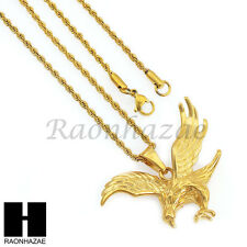 "MEN 316L STAINLESS STEEL AMERICAN EAGLE NECKLACE PENDANT 3mm W 24"" ROPE CHAIN 25"