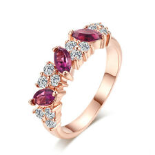 18K Rose Gold Plated Austrian Red Blue Crystals Wedding Engagement Ring #264