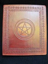 A5 Ring Binder - Hand-Tooled Leather - Pagan Wicca PENTACLE - in Brown or Green