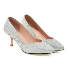 Women Sparkly Glitter Pointed Toe Stiletto High Heel Party Bridal Court Shoes