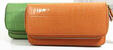 Kenneth Cole Croc Embossed Genuine Leather Double Zip Around Clutch Wallet - New