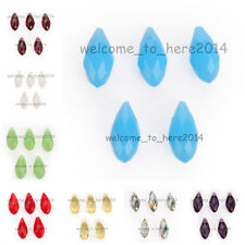 10pcs New Faceted Teardrop Pendant Earring Findings Spacer Beads 8x16mm Charms