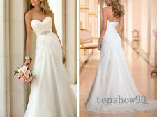 Elegant Chiffon Beaded Wedding dresses Long Bridal Gown Sweethear Wedding Dress