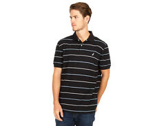 Nautica Men's Short Sleeved Stripe Polo Tee - Black
