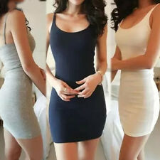 Fashion Women's Bodycon Vest Stretch Mini Dress Solid Bottoming Casual Sundress