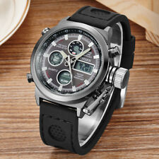 OHSEN Mens Silicone Band Date Alarm Military Sport Quartz Wrist Watch Waterproof