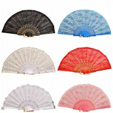 Handmade Party Wedding Dancing Lace Surface Foldable Hand Held Fan Gift New