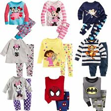 Cotton Cartoon Nightwear Kid Baby Boy Girls Pyjamas Set Clothes Size 2 3 4 5 6 7