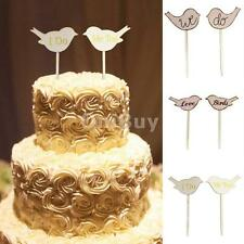 Love Birds Wedding Engagement Party Favor Wooden Cake Topper