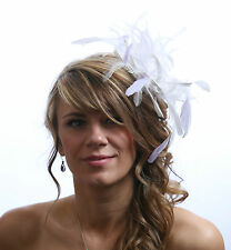 White Fascinator hat with lilachighlight/choose any colour satin/feathers