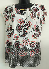 NEW Ex M&Co Paisley Border Print Size:12-20 Blouse Tee Top Summer Day Casual
