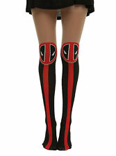 NEW Marvel Deadpool LOGO Part Sheer/Black/Red Tights Pantyhose Nylons S/M M/L