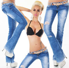 Sexy Women's hipster Bootcut jeans Destroyed Look bootcut Jeans + Belt UK 6-14