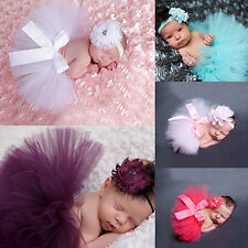 Newborn Baby Girl Glitzy Tutu Skirt+Flower Headband Photo Prop Costume Outfit