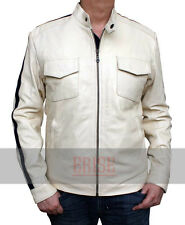 Need For Speed Aaron Paul White Leather Jacket - 100% MONEY BACK GUARANTEE!