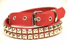 Two Row Pyramid Stud Red Canvas Belt Punk Rock Gothic 70's British Style Metal