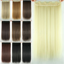 """24""""  Women Lady Long Straight clip in hair extensions Black Brown Blonde Fashion"""