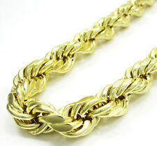 """10MM 10K Yellow Gold Rope Chain Diamond Cut Chain Necklace 26"""" to 32"""""""
