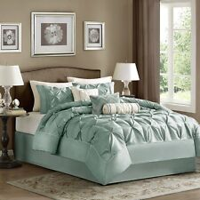 Seafoam Laurel Comforter, Pillow Shams, Bed Skirt AND 3 Decorative Pillows