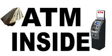 Atm Inside With Atm Machine And Money DECAL STICKER Retail Store Sign