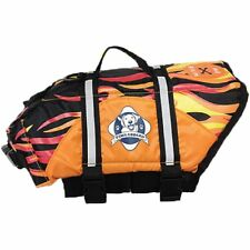 Paws Aboard Dog Life Jacket- Xtra Large - High Vis Orange w/ flames
