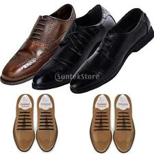 NEW NO TIE ROUND SILICONE SHOELACES VTG SNEAKERS OXFORD DERBY SHOES LACES BLACK