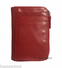 iLi Leather Women's RFID Gusseted Coin Purse ID Holder Zippered Card Wallet 7411