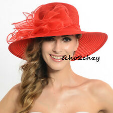 Ladies Church Bridal Wedding hat Organza Kentucky Derby HAT Wide Brim S052-C