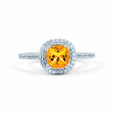 0.25CT DIAMOND ENGAGEMENT RING 9CT WHITE GOLD CUSHION CITRINE GEMSTONE ALL SIZES