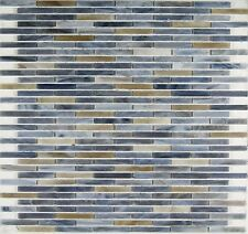 Mosaic Thin Subway Brick Pattern Glass Backsplash Wall Tile Blue Brown Tan White