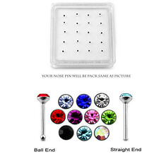 20 Pcs box 925 Sterling Silver 2 mm CZ Stone Top Nose Stud Ear Tragus Piercing