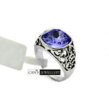 18K White Gold Plated Vintage Amethyst SWAROVSKI ELEMENTS CRYSTAL Ring R514