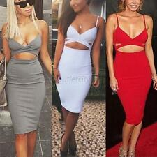 Women Clubwear Hollow Bodycon Bandage Party Cocktail Evening Pencil Sexy Dress