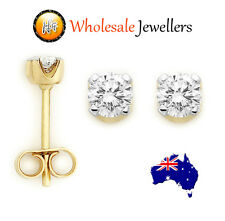 1pr Brand New 375 9ct 9K Solid Gold Genuine Natural Diamond Claw Set Earrings St