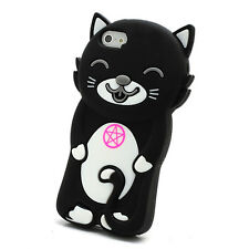 3D Smiley Cat Soft Silicone Gel Jelly Case for iPhone 5 5s-Black