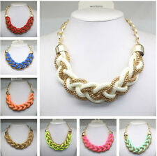 Occident fashion handmade woven Chinese knot  rope Fluorescent color necklace