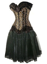 Sexy Leopard Corset+Black Skirt Burlesque Tiger Feline Costume Lace Frill Fancy