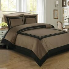 Hotel Taupe and Black Cotton Duvet Cover Set Royal Tradition ALL SIZES