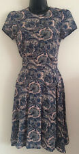 Ex NEW LOOK Size:8-12 Blue Peacock Paisley Print Fit & Flare Skater Summer Dress