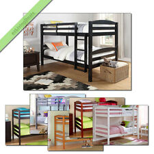 Bunk Beds Twin Over Twin for Kids Girls Boys Convertible Wood with Ladder Rails