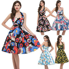 GK Retro Vintage Party Evening Dress 50s Pinup Swing Prom Cocktail Halter Cotton